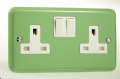 Varilight Pastel 2 Gang 13A Switched Socket Beyrl Green XY5W.BG